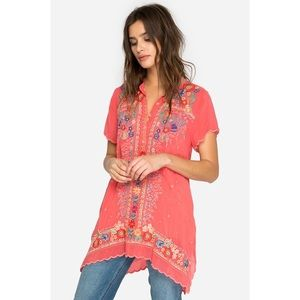 Johnny Was Mikones floral embroidered tunic top